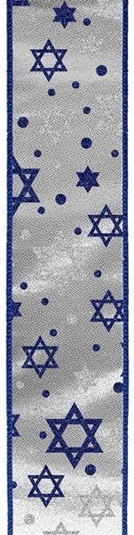 "2.5""X10yd Glitter Star Of David/Metallic Silver/Royal Blue"