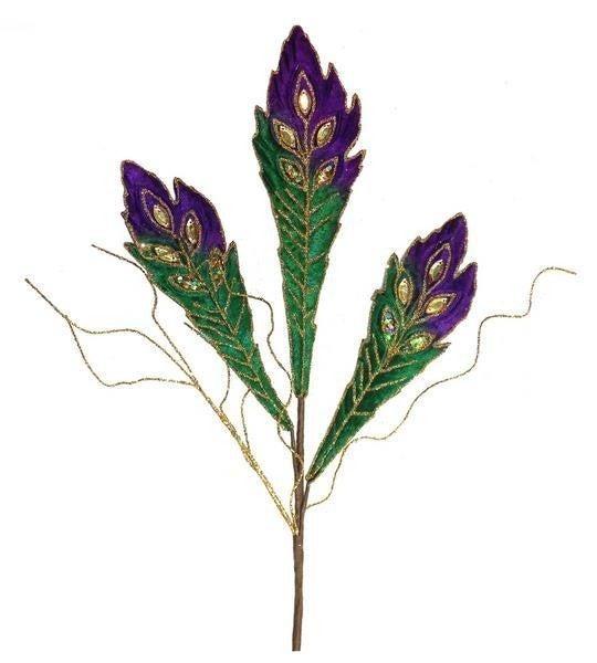"20""L Velvet Feather Leaf Spray"