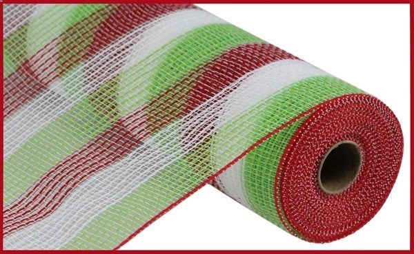 "10.5""X10yd Pp/Faux Jute Small Stripe Red/Lime/White"