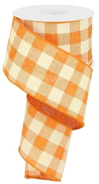 "2.5""X10YD STRIPED CHECK ON ROYAL ORANGE/IVORY"