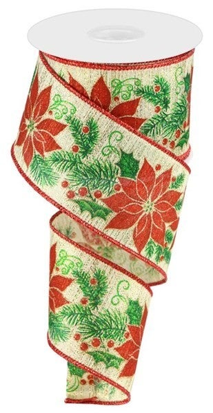 "2.5""X10yd Poinsettia/Pine/Berries Color: Gold/Red/Green"