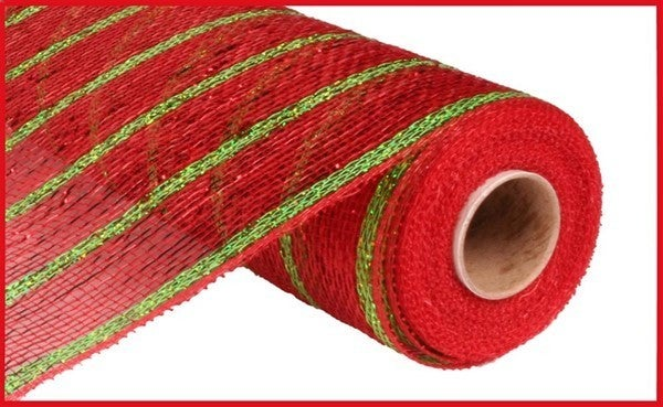 "10""X10yd Deluxe Metallic Stripe Color: Wide Red/Thin Laser Lime"