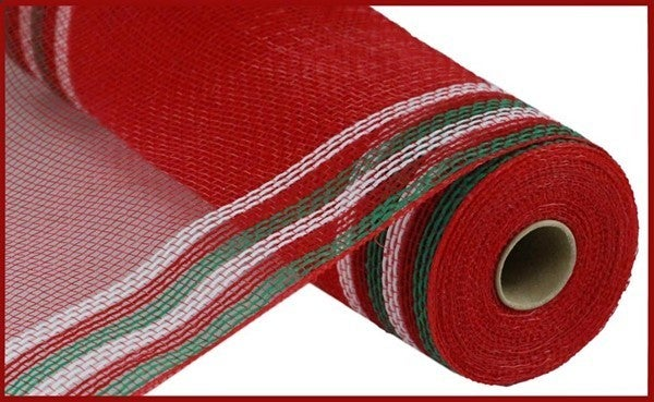 "10.5""X10YD FAUX JUTE/PP/BORDER STRIPE Color: Emerald/Red/White"