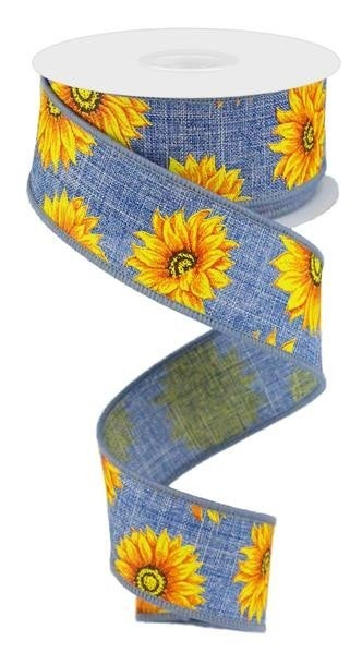 "1.5""X10YD MULTI SUNFLOWERS/ROYAL DENIM/YLW/ORNG/RUST/BRN"