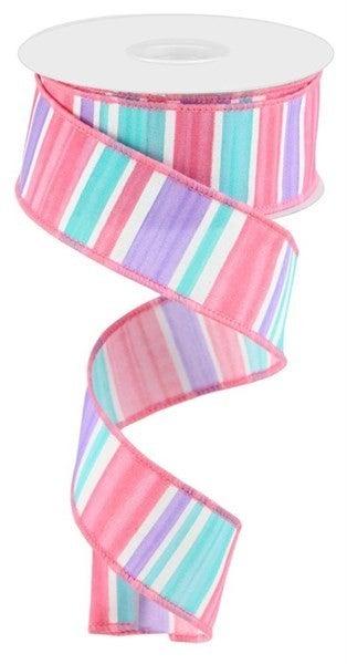"1.5""X10yd Multi Width Horizontal Stripe Color: White/Lav/Pnk/Turq"