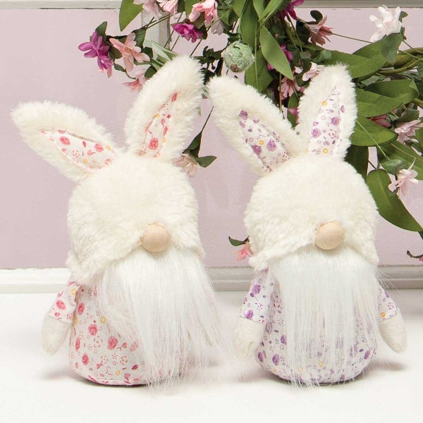 FLORAL PETITE BUNNY GNOME WITH FUZZY BUNNY HAT, WOOD NOSE