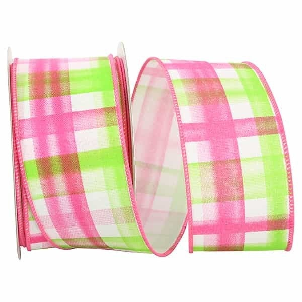 "PLAID PRINT BLENDS WIRED EDGE 2.5""x20yards pink"