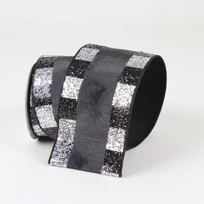 "CHECKERED BORDERS- 4"" X 10YD / BLACK AND SILVER"