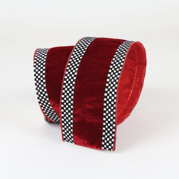 "MINI CHECK BORDER  2.5"" X 10YD / RED"