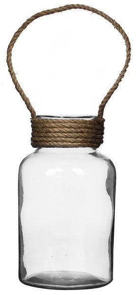 "12""H X 6.75""Dia Glass Jar W/Jute Rope"