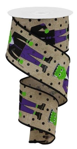 "2.5""X10yd Frankenstein On Royal W/Dots Color: Lt Beige/Grn/Purple/Black"