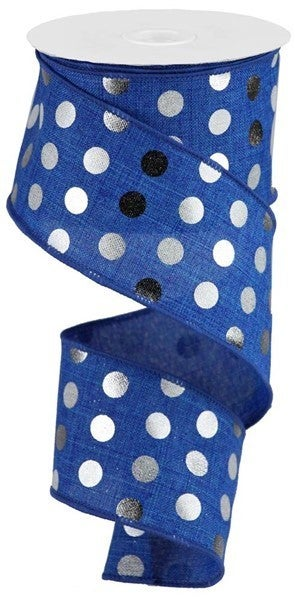 "2.5""X10yd Metallic Dots On Royal Royal Blue"