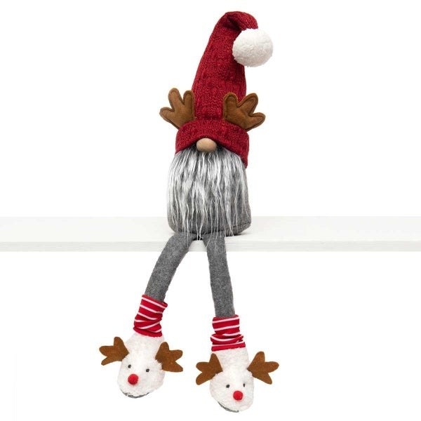 GNOME WITH ANTLERS, WIRED SWEATER HAT, POM-POM, WOOD NOSE, GREY BEARD, LEG WARMERS & DEER SLIPPERS LARGE