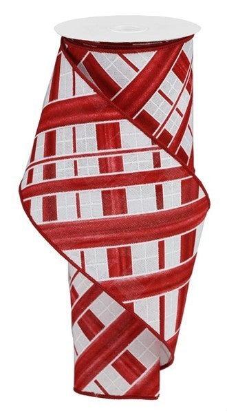 """4""""X10yd Two Tone Stripe Check/Royal Red/White"""