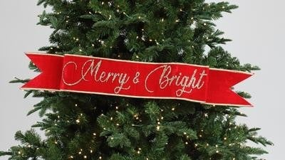 "MERRY & BRIGHT BANNER - 4"" X 36"" / RED"