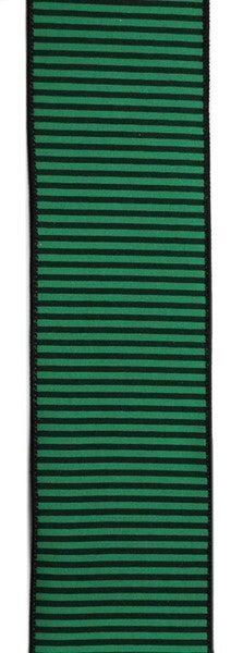 "2.5""X10yd Horizontal Thin Stripes On Pg Emerald Green/Black"