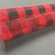 """Red Black Plaid Fabric Mesh 21""""x10yd"""