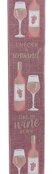 "2.5""X10yd Wine Bottle On Royal Color: Dk Mauve/White/Blush"