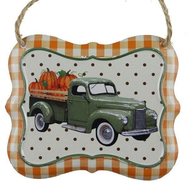 """7""""L X 6""""H Truck W/Pumpkins Tin Sign"""