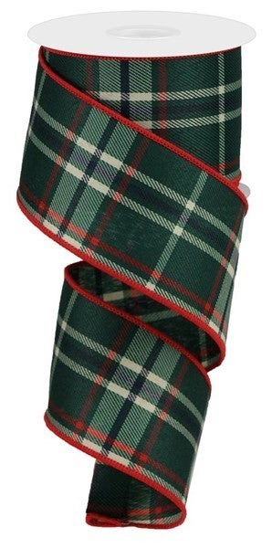 "2.5""X10yd Plaid Color: Emerald/Beige/Red/Black"