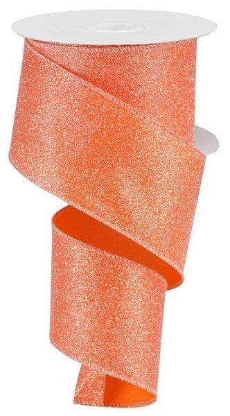 """2.5""""X10yd Iridescent Glitter On Satin Orange/Iridescent"""