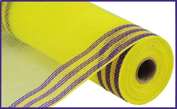 "10.5""X10YD FAUX JUTE/PP/BORDER STRIPE Color: Yellow/Purple"