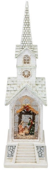 "15.5""H Church Nativity Snow Globe"