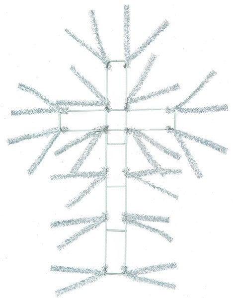"20""H Pencil Wire Work Cross White"