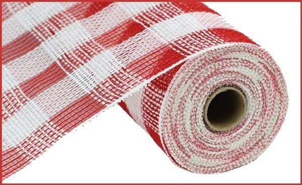 "10.5""X10yd Cotton/Faux Jute Check Mesh Red/wh"