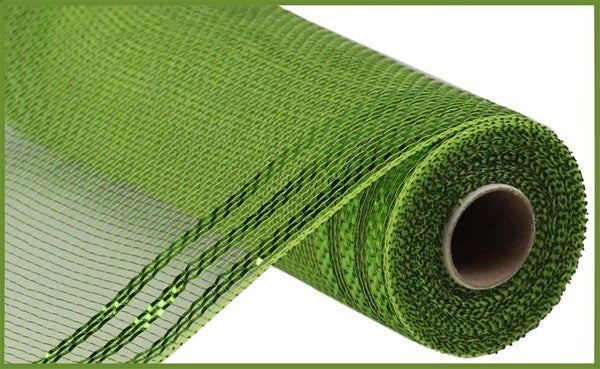 "10.25""X10yd Border Stripe Metallic Mesh Color: Moss/Apple W/Lime Green"