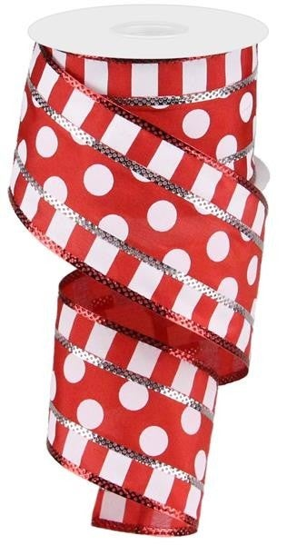 "2.5""X10YD 3 IN 1 POLKA DOT W/STRIPES RED/WHITE"