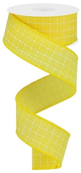"1.5""X10yd Raised Stitched Squares/Royal Yellow/White"