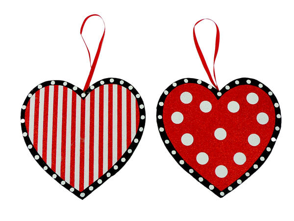 Orn Polka Dot Stripe Heart W8xH8