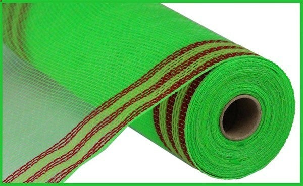 "10.5""X10yd Faux Jute/Pp/Border Stripe Lime/Red/Fresh Green"