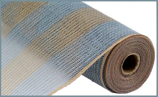 "10.5""X10yd Faux Jute/Pp Wide Stripe Grey/Natural"