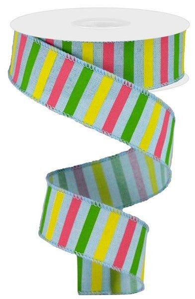 "1.5""X10yd Horizontal Stripe On Royal Color: Pale Blue/Yllw/Grn/Pink"