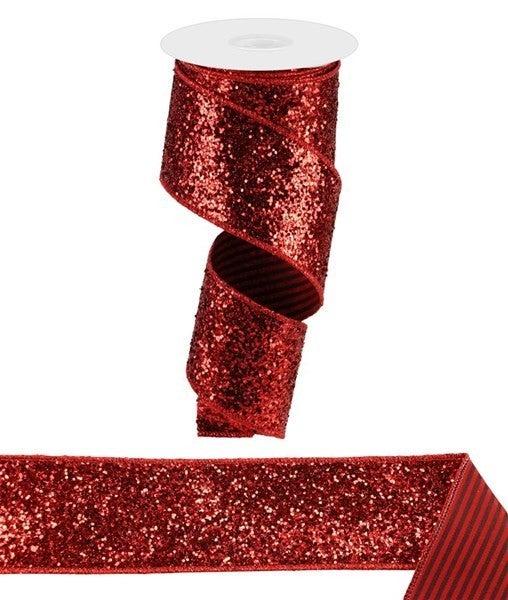 "2.5""X10yd Large Glitter/Vertical Stripe REd/Black"