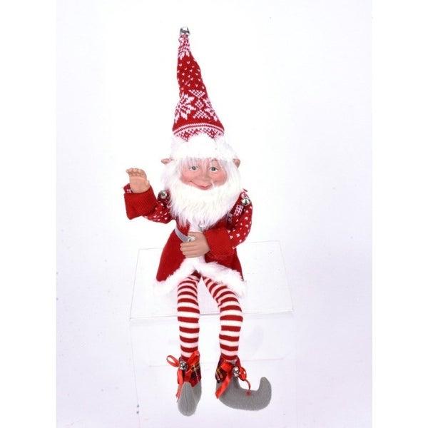 Pixie Elf Orn Red White