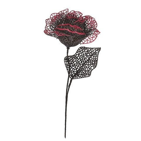 Halloween Rose Pick: Red/Black, 3 X 12 Inches
