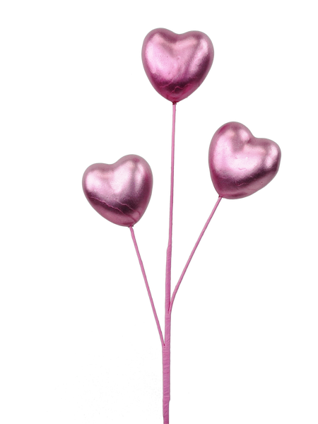 Metallic Heart Spray X 3 H20 Pink