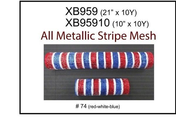 """RED-WHT-BLUE METLIC STRIPED MESH, 21""""X10Y"""