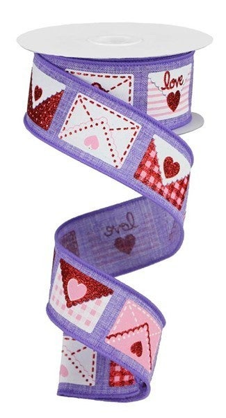 "1.5""X10yd Love Letters On Royal Lavender/White/Red/Pink"