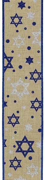 "1.5""X10yd Glitter Star Of David On Royal Color: Lt Beige/Royal Blue/Slvr"