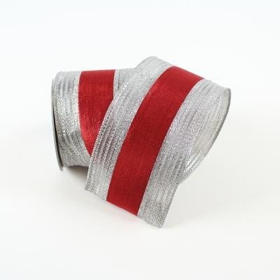 "METALLIC BORDERS RIBBON - 4"" X 10YD / RED SILVER"