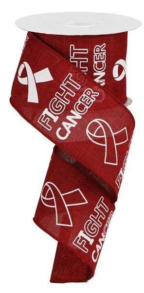 """2.5""""X10yd Fight Cancer On Royal Burgundy"""