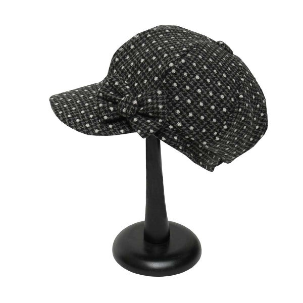 Black and White Polka Dot Slouch Hat with Bow