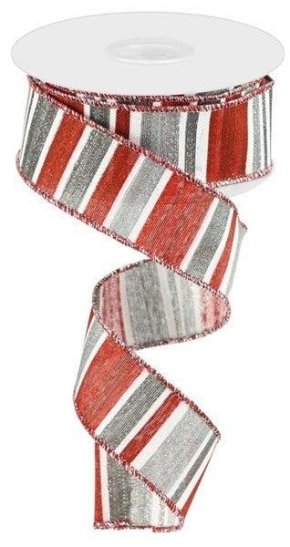 "1.5""X10yd Multi Width Horizontal Stripe Silver/Red/Grey"