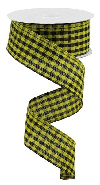 "1.5""X10yd Woven Gingham Check Yellow/Black"
