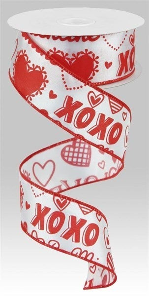 """1.5""""X10yd Valentine Words W/Hearts White/Red"""