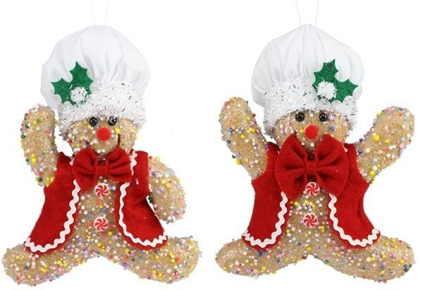 "9""H Icy Gingerbread Chef Orn"